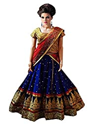 Pramukh group Women's Embroidered Faux Georgette Blue Red Lehenga With Blouse Pc & Dupatta