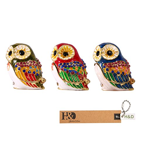 H&D Owl Figurine Trinket Box Ring Holder Jewelry Case Collectible Table Centerpiece (3sets)
