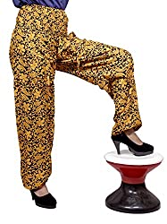 Cotton Floral Genie Harem Pants Boho Gypsy Trousers Free Size (Orange)