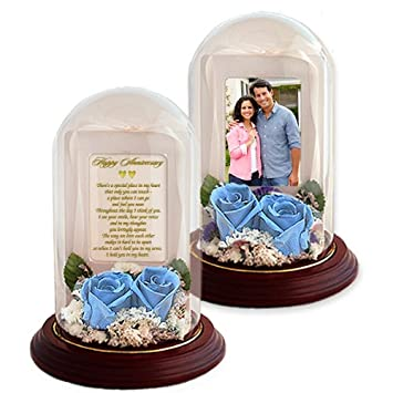 Anniversary Gift for Wife, Husband, Girlfriend or Boyfriend – Love Poem and Preserved Roses in Glass Dome – Add Photo