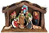 Snow White Light Up Wooden Nativity Set With Ceramic Figurines