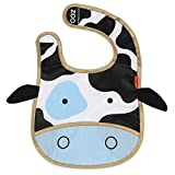 Skip Hop Zoo Little Kid and Toddler Tuck-Away Water Resistant Baby Bib, Multi Cheddar Cow