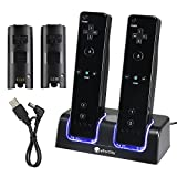 eForCity Dual Charging Station w/ 2 Rechargeable Batteries & LED Light Compatible with Wii Remote Control, Black