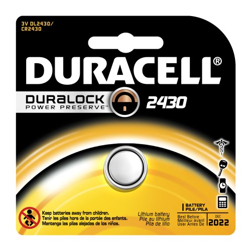 Duracell Dl2430 Lithium Coin Battery, 2430 Size, 3V, 285 Mah Capacity (Case Of 6)
