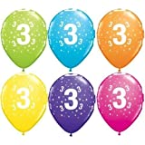 "Age 3/3rd Birthday Tropical Assorted Qualatex 11"" Latex Balloons x 5"