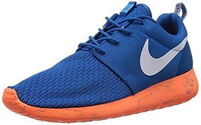 Nike Mens Rosherun Running Shoes Military Blue/White/Total Orange 669985-400 Size 10