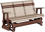 Outdoor Polywood 5 Foot Porch Glider - Plain Rollback Design *WEATHERWOOD/CHESTNUT BROWN* Color
