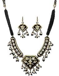 DollsofIndia Black Bead Adjustable Necklace With Meenakari Pendant & Earrings - Black