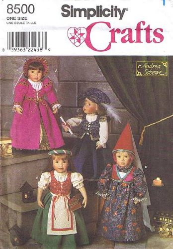 SIMPLICITY 8500 ~ Costume Patterns For 18 Inch Dolls ~ Royal Princess Dresses ~ AMERICAN