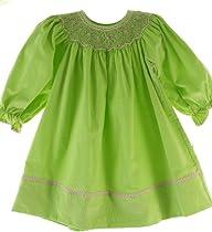 Petit Bebe Infant Toddler Girls Green Smocked Bishop Fall Dress 12M
