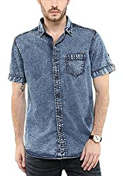 Mufti Mens Blue Slim Fit Shirt