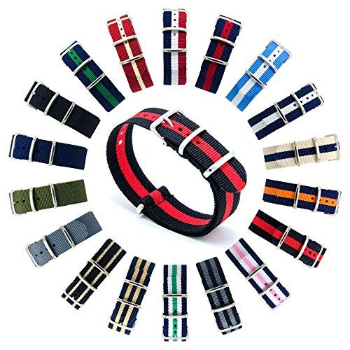 CIVO-Armbanduhr-BANDS-NATO-Premium-Ballistic-Nylon-Uhrenarmband-Edelstahl-Schnalle-18-mm-20-mm-22-mm-mit-Top-SPRING-BAR-Werkzeug-und-4-Spring-Bars-Bonus-BlackCrimson-20mm
