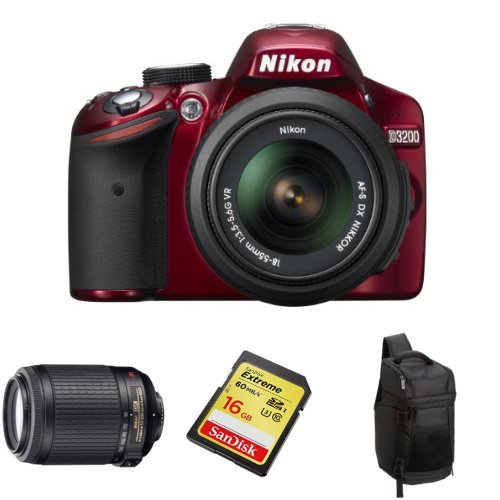Nikon D3200 (Red) With 18-55Mm And 55-200Mm Vr Lens + Free Accessories