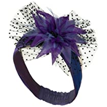 Heandband with Tulle and Flower Trim - Purple OSFM