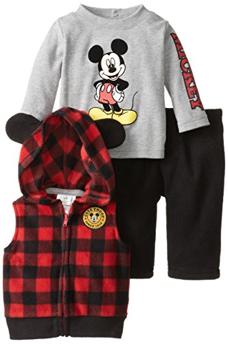 Disney Baby Baby-Boys Mickey 3 Piece Vest Set, Classic Red, 9 Months front-627199