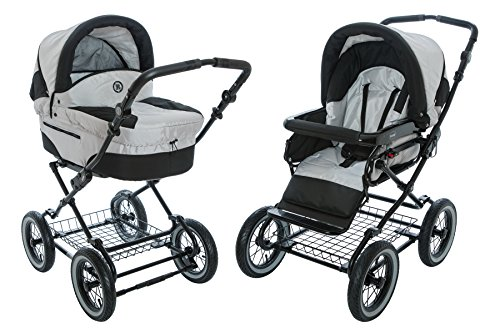 Buy Roan Rocco Classic Pram Stroller 2-in-1 with Bassinet and Seat Unit - Multiple Colors (Silver)