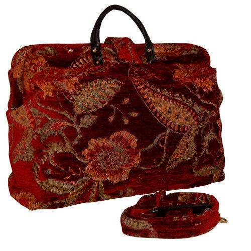Red Floral Tapestry Carpet Bag With Shoulder Strap