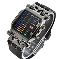 Unisex Square Style Colorful 31 LED Quartz Wrist Watch - Silver