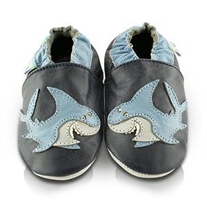 Snuggle Feet - Suaves Zapatos De Cuero Del Bebé Tiburon