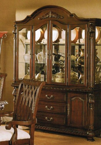 Cheap China Cabinet Buffet Hutch – Traditional Dark Cherry Finish (VF_F6064)