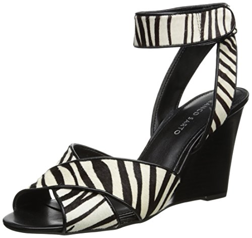 Franco Sarto Women'S L Filipa Wedge Sandal,Black/White,6 M Us