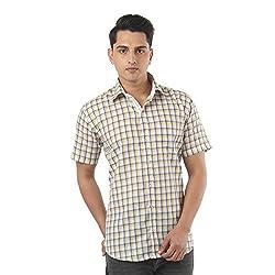 ZIDO Yellow Blended Men's Checks Shirts PCFLXHS1323_Yellow_48