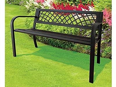 Express Trading ® Black 3 Seater Metal Garden Outdoor Lattice Back Park Bench Seat Furniture
