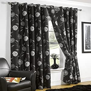 black silver eyelet curtains julia 90x108 kitchen home