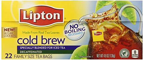 Lipton Decaffeinated Cold Brew, Family Size Tea Bags, 22 Count (Pack Of 3)