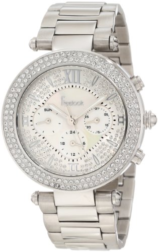 Freelook Women's HA1539-1 Full Stones Mother-Of-Pearl Chronograph Dial Silver Swarovski Bezel Watch
