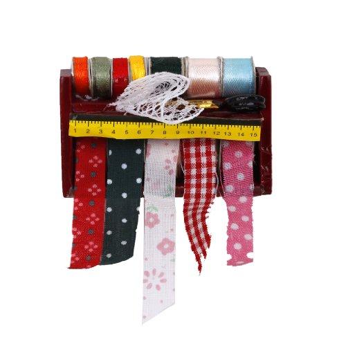 Puppenhaus Miniatur Nähen Band Schere Holzgestell Shelf 1:12