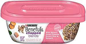 Beneful Wet Dog Food, Chopped Blends, Salmon, 10-Ounce Tub, Pack of 8