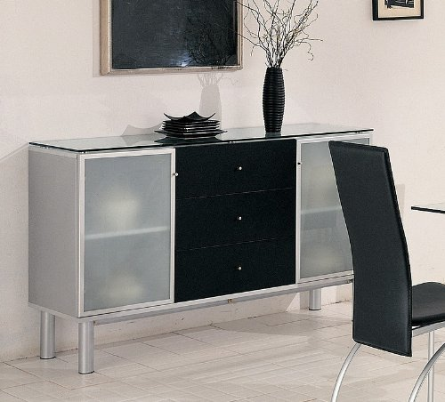 Cheap Pearl Silver Finish Sideboard / Server with Black Drawers (VF_7643)