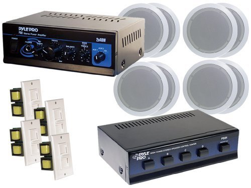 """Pyle Home Supreme Amplifier/Speaker Package - Pta2 Mini 2X40W Stereo Power Amplifier + Pss4 4-Channel High Power Stereo Speaker Selector + """"Four"""" Sets Of 250 Watt 6.5-Inch 2-Way In-Ceiling Dual Speakers Systems + """"Four"""" Wall Mount Vertical Slide Volume Co"""