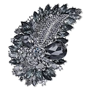 Pugster Leaf Tabac Sahara Clear Swarovski Crystal Diamond Accent Drop Oval Brooches Pins