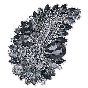 Pugster Leaf Tabac Sahara Clear Swarovski Crystal Diamond Accent Drop Oval Brooches Pins