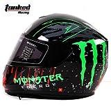 Tanked Racing-T159 フルフェイスヘルメット 高密度ABS  シールド付き  快適なインナー 内装は脱着なタイプ  EPS緩衝ライナー  バイクヘルメット  男女共用ヘルメット  多色選択可能  春夏秋冬 メンズ レディース  L 57-58CM