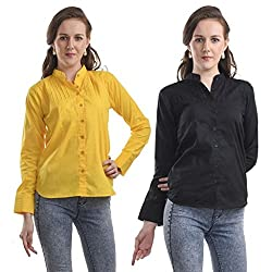 TeeMoods Pack of Two Cotton Full Sleeves Women's Shirts