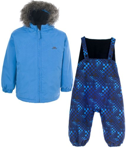 Boys TRESPASS IGGLE Blue Ski Jacket & Salopettes Pants Snow Suit Set 6-24 months