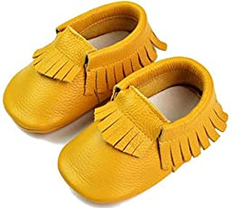 DADAWEN Baby Moccasins Genuine Leather Slip On Shoes Yellow S (0-6 Month)