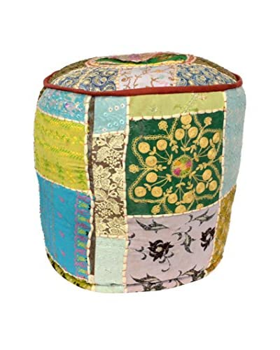 Uptown Down Circular Patchwork Pouf, Multi