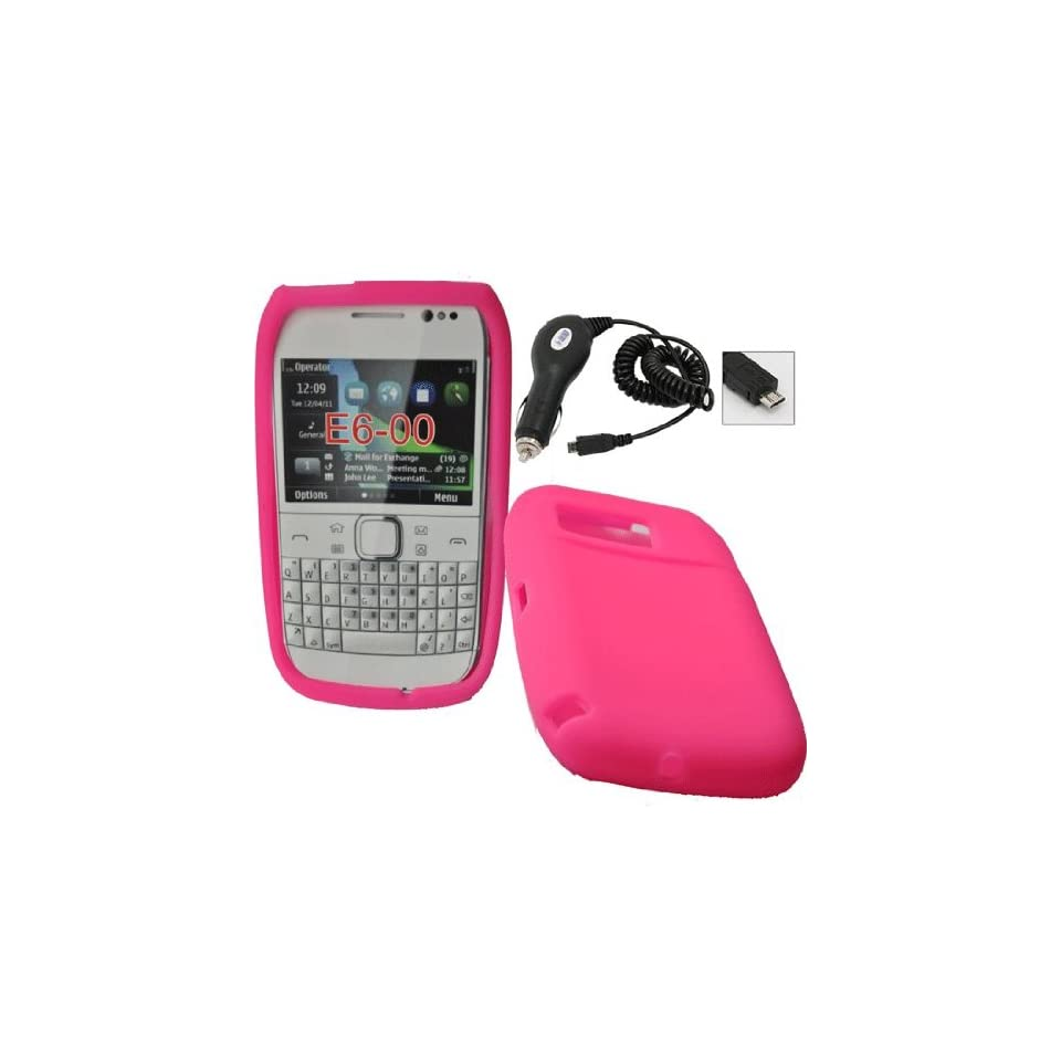 Mobile Palace  Pink silicone skin case cover pouch with car