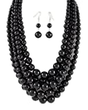 Black Bead Multi Strand Graduated Necklace and Earrings Set