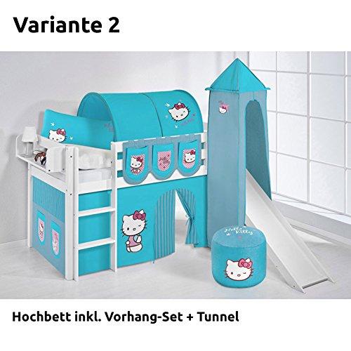 Hochbett Spielbett JELLE Hello Kitty Türkis mit Turm, Rutsche und Vorhang, weiß, Variante 2