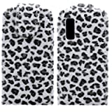 Wayzon Organic PU Leather Flip Case Cover Skin Pouch Shell Holster Built In Hard Plastic Holder Housing White Furry Leopard Design For Samsung S5230 Star Tocco Lite Phone
