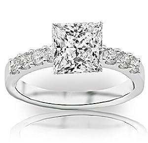 1.5 Carat GIA Certified Princess Cut / Shape Classic Prong Set Round Diamond Engagement Ring ( G Color , VVS2 Clarity )