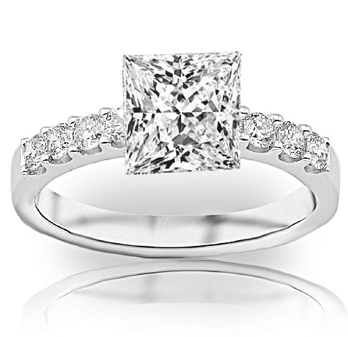 1 Carat Gia Certified Princess Cut / Shape Classic Prong Set Round Diamond Engagement Ring ( G Color , Vs2 Clarity )