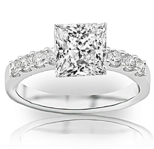 Price Comparisons 1.5 Carat GIA Certified Princess Cut / Shape Classic Prong Set Round Diamond Engagement Ring ( G Color , VVS2 Clarity )