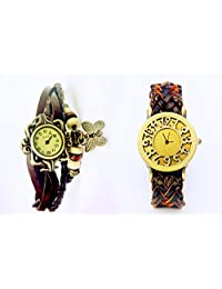 COSMIC BROWNISH STRAP WITH ORANGE SHADE LEATHER WOMEN WATCH WITH FREE BROWN BRACELET WATCH- SET OF 2 ANALOG WATCH