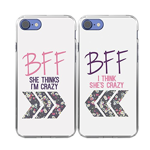 iPhone-7-Case-TTOTT-2X-Cases-Floral-Best-Friend-Couple-Cases-New-Fashion-Matching-BFF-2-Pieces-Shes-Crazy-Im-Crazy-Soft-TPU-Case-Bumper-Shockproof-Cover-Case-for-iPhone-7-Case-47inch-2016-New-Model-Be